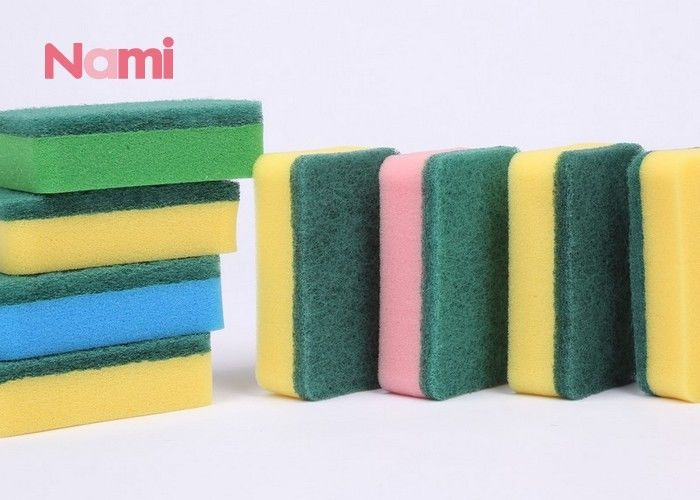 Heavy Duty Scrub Clean Dish Sponge , Yellow / Green Kitchen Cleaning Pad